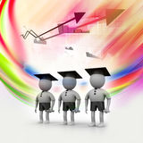 3d people with graduation Cap Stock Images