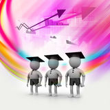 3d people with graduation Cap Stock Photography