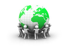 3d people with  green world globe Royalty Free Stock Photos