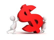 3d people grow up red dollar currency symbol. Business concept 3d render illustration Stock Photo