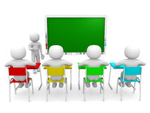3d people with hand close to blackboard. Concept of education and learning Stock Photos