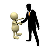3D People handshake with businessman silhouette. On white background Royalty Free Stock Photo