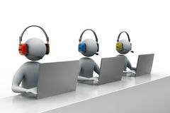 3D people with headset talking over the phone Royalty Free Stock Photography