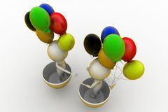 3d people holding ballon Royalty Free Stock Photo