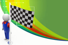3d people holding Checker / finish Flag Illustration Royalty Free Stock Image