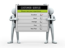 3d people holding customer service evaluation form Stock Image