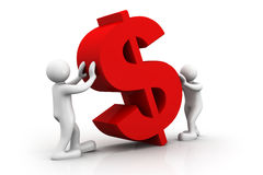 3d people  holding a dollar symbol Royalty Free Stock Images