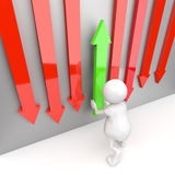 3D People holding green arrow. Success concept Royalty Free Stock Photography