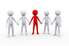3d people holding hand with their leader stock image