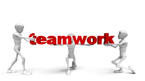 3d people holding hands in the word. Teamwork. 3d image Stock Photo