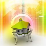 3D people holding a house Royalty Free Stock Photos