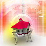 3D people holding a house. In color background Royalty Free Stock Images