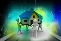 3D people holding a house. In color background Stock Photography