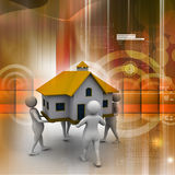 3D people holding a house Royalty Free Stock Images