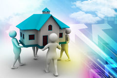 3D people holding a house. In color background Stock Photo