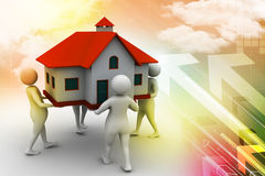 3D people holding a house. In color background Stock Photos