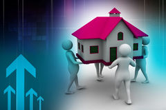 3D people holding a house. In color background Stock Images