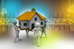 3D people holding a house. In color background Royalty Free Stock Photography