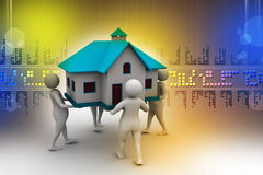 3D people holding a house. In color background Royalty Free Stock Photos