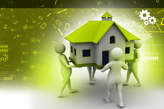 3D people holding a house. In color background Royalty Free Stock Image