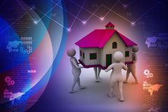 3D people holding a house. In color background Stock Image