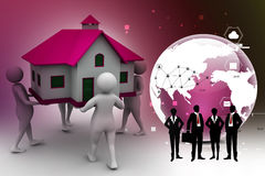 3D people holding a house Royalty Free Stock Image