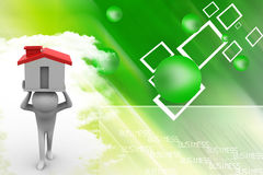 3d People Holding House Illustration Stock Photo