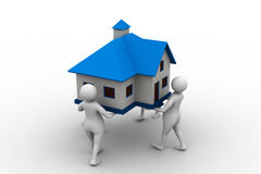 3D people holding a house. Isolated on white Royalty Free Stock Images