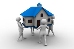 3D people holding a house. Isolated on white Royalty Free Stock Photo