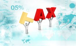 3d people holding  word tax. Digital illustration Royalty Free Stock Photo