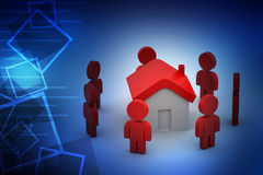 3d people with home,  real estate concept Royalty Free Stock Photos