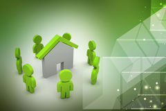 3d people with home,  real estate concept Royalty Free Stock Images