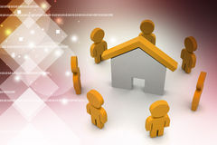 3d people with home,  real estate concept Royalty Free Stock Photo