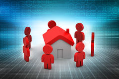 3d people with home,  real estate concept. In color background Royalty Free Stock Image