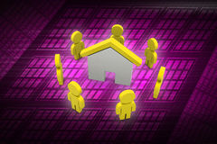 3d people with home,  real estate concept Stock Photo