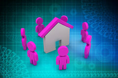3d people with home,  real estate concept Stock Photos