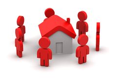 3d people with home,  real estate concept Stock Image