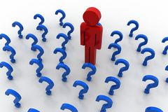 3d people icon surrounded by question marks Stock Photography