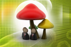 3d people icon under the mushrooms Stock Photos