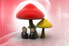 3d people icon under the mushrooms Royalty Free Stock Photo
