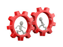 3d people inside rotating gear cogwheels Royalty Free Stock Photography
