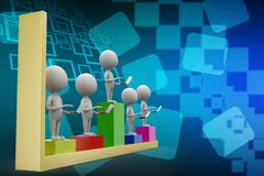 3d people with laptop on bar graph illustration Royalty Free Stock Images