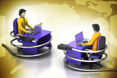 3d people and laptop with Connecting cable Royalty Free Stock Image