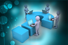 3d people with laptop and question mark Stock Image