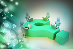 3d people with laptop and question mark Royalty Free Stock Images