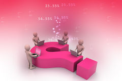 3d people with laptop and question mark. In color background Stock Image