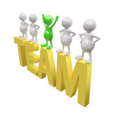 3D People with leader and yellow word team. On white background Vector Illustration