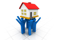3d people lifting house Royalty Free Stock Photo