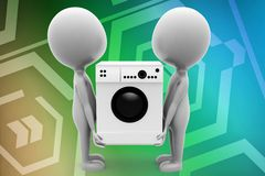3d people lifting washing machine illustration Stock Image