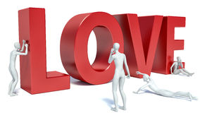 3d people look at the word love Royalty Free Stock Photography